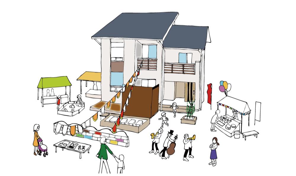アイフルホーム様住宅展示場手描きイラスト
