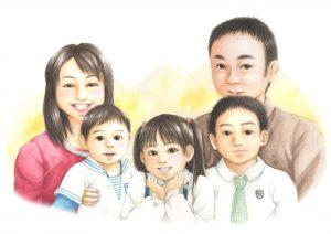 山手さまご家族の肖像画制作